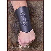 Battle-Merchant Armschützer aus Leder, mit Thorshammer, lang - Armband Armstulpe Wikinger LARP Mittelalter