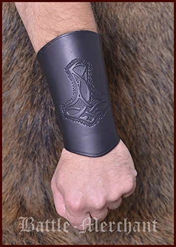 leather-arm-protectors-with-thors-hammer-bracelet-sleeves-larp-viking-medieval-brown