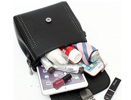 SHFANG Doppelte Schulter-Beutel-Kursteilnehmer-Schultaschen-Spielraum-Freizeit-Einkaufen-Schule-Mädchen-Geschenk-Schwarz-Rot 20 * 10 * 23cm , bordeaux black