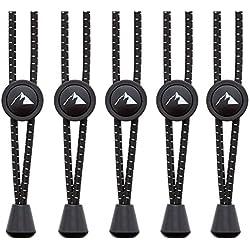 EVEREST FITNESS 5 Pares de Cordones Elasticos Zapatillas Deporte, sin Nudos, 118 cm | con 2 Años de Garantia de satisfaccion | Sistema de sujeccion rapida de Cordones