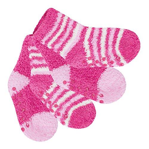 Celodoro 4 Paar süße Baby Kuschelsocken Pink-74/80