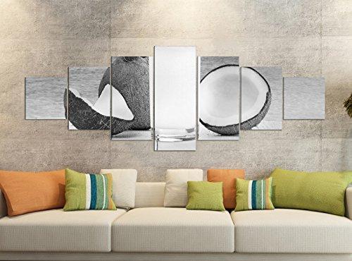 Leinwandbilder 7 Tlg 280x100cm schwarz Meer Urlaub Kokos Nuss Cocktail Steg Leinwand Bild Teile teilig Kunstdruck Druck Wandbild mehrteilig 9YB2930, Leinwandbild 7 Tlg:ca. 280cmx100cm (Sieben Meere-cocktail)