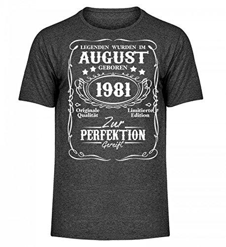 Hochwertiges Herren Melange Shirt - Legenden August Geburtstag 1981 Dunkelgrau Meliert