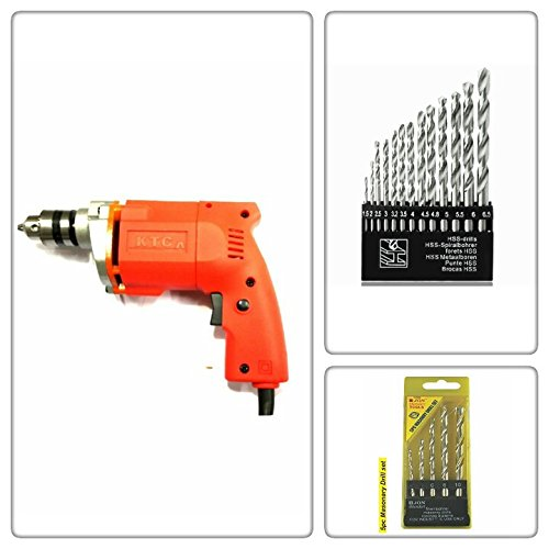 POWERFUL PANTHER 10MM DRILL MACHINE +13PCS HSS DRILL SET FOR WOOD,METAL,PLASTIC & 5PCS MASONARY DRILL SET FOR WALL,CONCRETE(Orange)