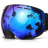Skibrille ,COPOZZ G1 Ski Snowboard Brille Brillenträger Schneebrille Snowboardbrille Verspiegelt - Für Damen Herren Frauen Jungen - Mit Sehstärke OTG UV-Schutz Anti-Fog Blau (Schwarz Blau)