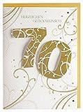 Geburtstagskarte zum 70. Ranken gold