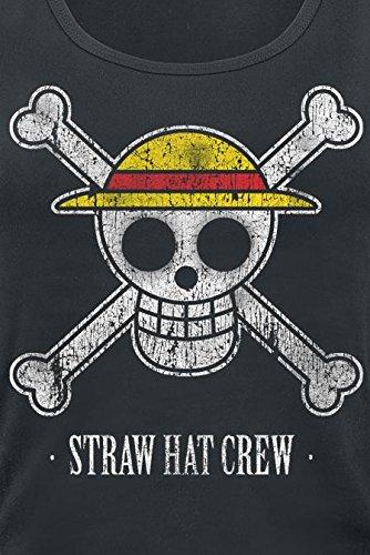 One Piece Straw Hat Crew Top donna nero Nero