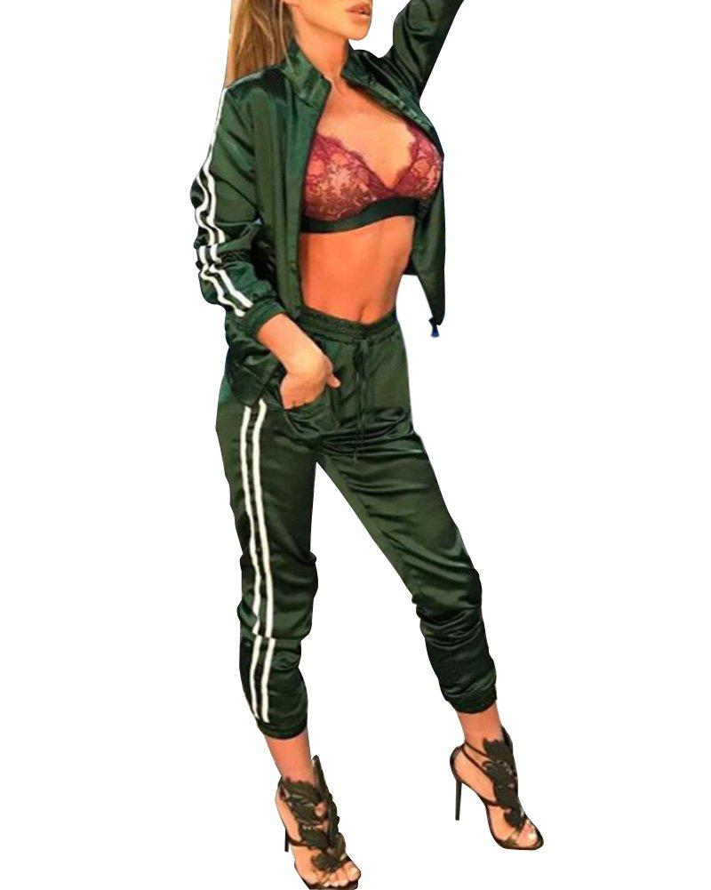 93371d6f7f6a Minetom Tuta da Ginnastica Donna 2 Pezzi Stampa a Strisce Fitness Sportiva  Tuta Jogging Manica Lunga Cerniera Felpa Tops Giacca e Pantaloni