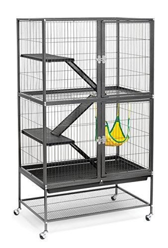 Prevue Hendryx 485Pet Products Amusant Furet Home avec Support, Noir Hammertone