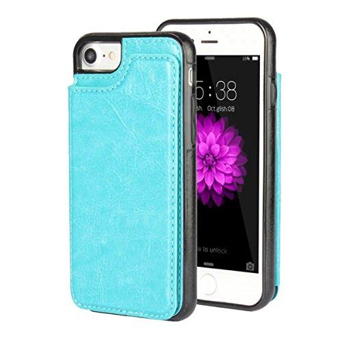 MOONCASE iPhone 7 Hülle, Pocketstyle Leder Schutzhülle Kartenfächer und Magnetverschluss Handyhülle Case für iPhone 7 (Schwarz) Blau