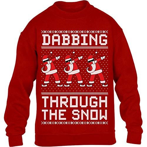Shirtgeil Dabbing Through The Snow - Regalo per Natale Maglione per Bambini e Ragazzi 7-8 Anni (122-128cm) Rosso