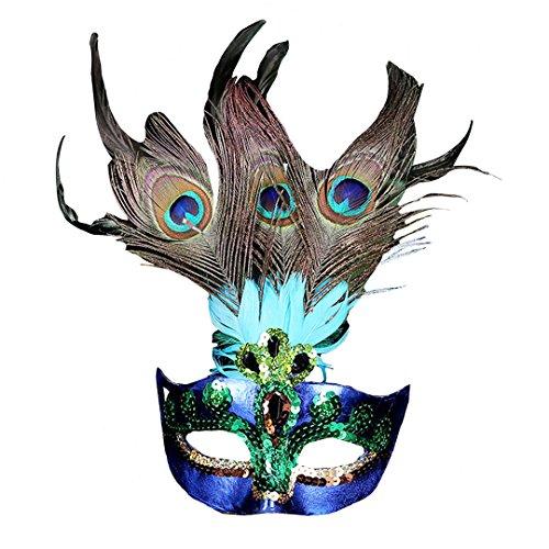 La Haute Lady Sexy Masquerade Masken Party Maske Fancy Kleid pecock blue (Pfau Venezianischen Maskerade Maske Damen)