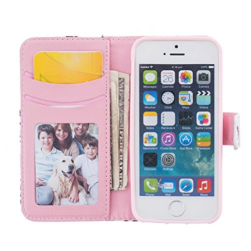 PU Cuir Coque Strass Case Etui Coque étui de portefeuille protection Coque Case Cas Cuir Swag Pour iPhone 5 / 5s / SE +Bouchons de poussière (6AB) 3