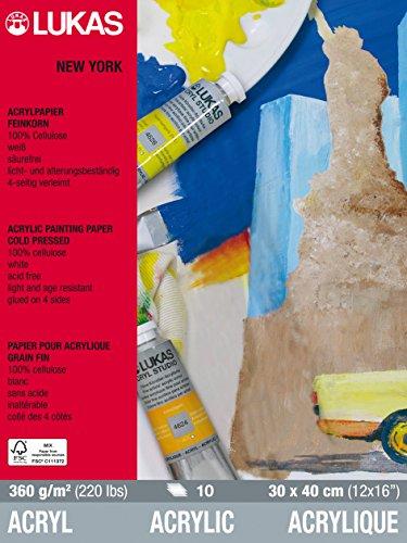 Lukas NEW YORK Acrylpapier, 30x40cm, 360g/m², 10 Blatt Block