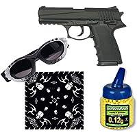 Pistola airsoft HA126 negra metálica. Calibre 6mm. Potencia 0.5 Julios + Gafas antivaho + Biberon 1000 bolas