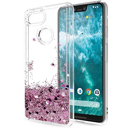 LeYi Coque Google Pixel 3 XL Etui, Fille Personnalisé Liquide Paillette Transparente 3D Silicone Gel Antichoc Kawaii Housse pour Google Pixel 3 XL Or Rose Gold