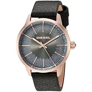 Diesel Relojes para Mujer Castilia Rosa Tono Dorado y Negro Cuero Reloj