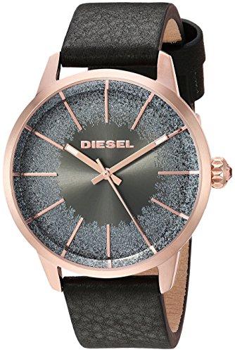 Diesel Watches Castilia Damen-Armbanduhr, rotgoldfarbenes und schwarzes Leder