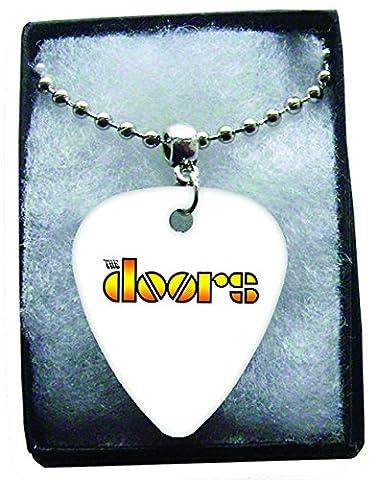 Doors Logo Metal Guitar Pick Necklace Ball Chain Collier Médiator