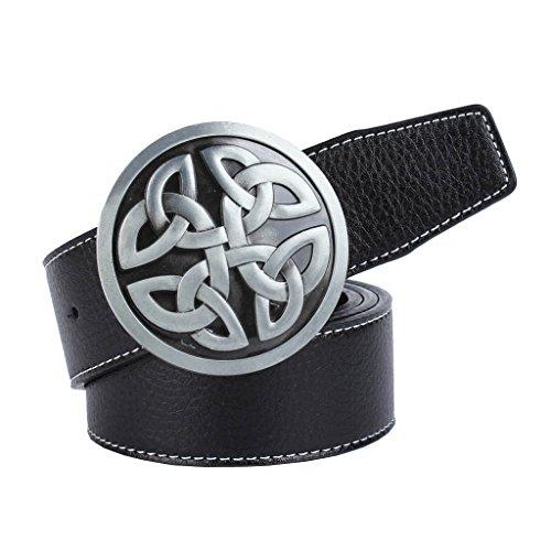 Baoblaze Adjustable Men's Belt with Oval Buckle Retro Style - black, buckle round Celtic knot
