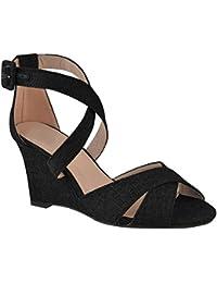 Fashion Thirsty heelberry Scarpe Basse da Donna Passanti Sandali Paillettes Comfort Scarpe estive Luccicante Misura UK - Glitter Oro, 39