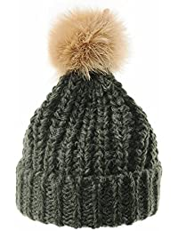 b72d3c4f2d5 WITHMOONS Strickmützen Seemannsmütze Thick Crochet Knitt Faux Fur Pom Pom Beanie  Hat Slouchy CR5511