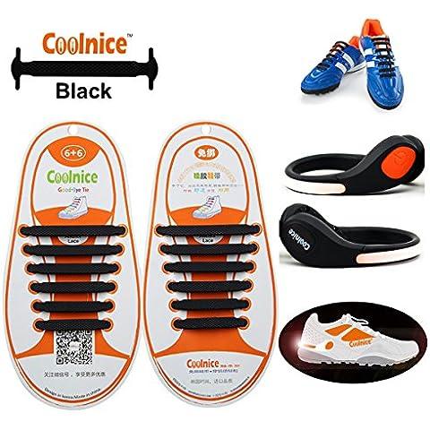 Coolnice® Cordones Elásticos para niños con las luces LED de recorte - Naranja Encendido para Niños - Silicon Deportes elásticos Shoelaces Negro