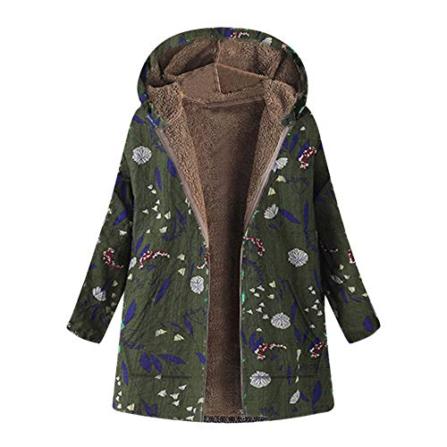 new product 1e64a 5b574 VECDY Women s Winter Warm Fashion Trend Wild Coat Floral Print Casual  Hooded Zipper Pocket Retro Oversized