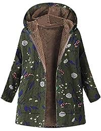 VJGOAL para Mujer de Invierno Casual cálido Grueso Outwear Moda Bolsillos con Capucha con Estampado Floral