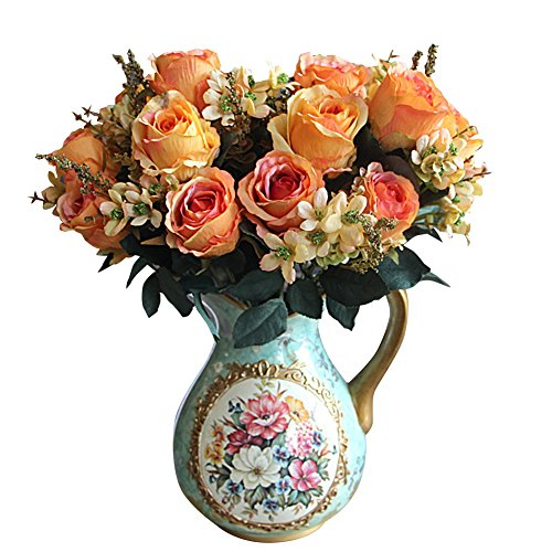 Kicode Rose Blumenstrauß Künstliche Hydrangea 18,5