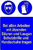 Gebotsschild aus Kunststoff - Bei allen Arbeiten mit ätzenden Säuren und Laugen Schutzbrille und Handschuhe tragen - 20 x 30 cm