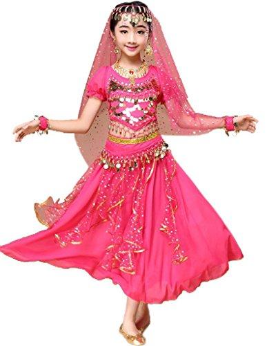 Indische Kleidung Bollywood Orient Kleid Halloween Karneval Kostüme Bauchtanz Anzug (Hotpink, M Fits 9-11 (Kostüm Wolf Indische Mädchen)