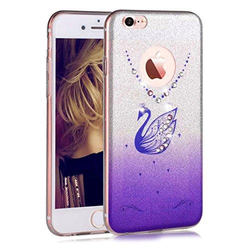 iPhone 6S Plus Custodia, Sunroyal® UltraSlim Bling Soft Mat TPU Silicone Case Cover Morbido Protettiva Cassa Cristallo Diamonte Cigno Back Cover Bumper per Apple iPhone 7 (4.7