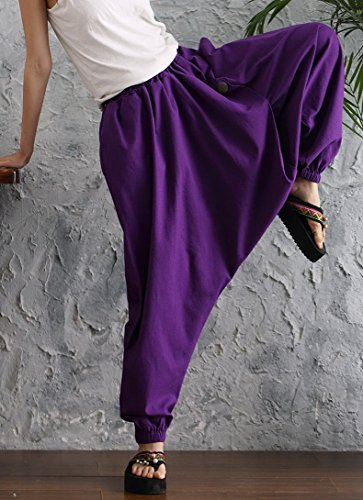 Aivtalk - Damen Sommerhose Freizeithose Leinen Hosen Tiefer Schritt Hose Lila