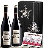 Christmas Weinpräsent Frankreich Bordeaux | Rotwein 2er Weihnachts-Set, Winterzauber (Syrah & Cabernet) | mit Stern & Baum | Luxus zu Weihnachten