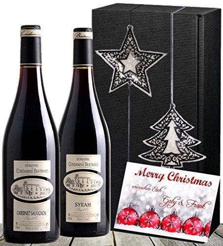 Christmas Weinpräsent Frankreich Bordeaux   Rotwein 2er Weihnachts-Set, Winterzauber (Syrah & Cabernet)   mit Stern & Baum   Luxus zu Weihnachten