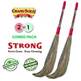 #3: Chand Suraj Strong 2 Pc Combo of Grass Floor Broom Stick for Floor Cleaning (Phool Jhadu/Mop)