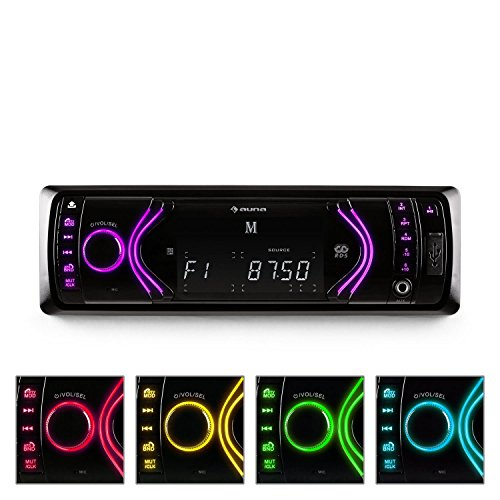 auna MD-130 • Autoradio • Car-Radio • Car-HiFi-Set • Bluetooth-Schnittstelle • USB-Slot • SD/MMC-Slot • UKW-Radiotuner • MP3 • 3,5mm-Klinke-AUX-Eingang • Stereo-Cinch-Line-Ausgang • Freisprechanlage • Fernbedienung • abnehmbares Bedienteil • schwarz