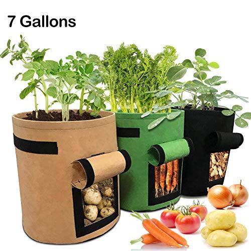 LEHOUR Grow Bags, 3 Stück 7 Gallonen atmungsaktives Vlies Kartoffel Grow Bags, Gartengemüse-Kulturtaschen mit Klappe und Griffen für Kartoffel, Karotte, Tomate (Schwarz + Braun + Grün)