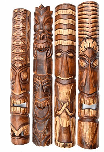 4-Tiki-Mscaras-100cm-IM-Hawaii-Estilo-Mscara-de-madera-Mscara-Mscara-de-pared