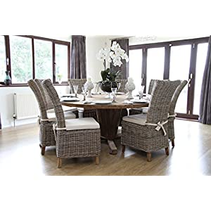 Inspiring Furniture LTD Reclaimed Teak Character Table 1.8m with Natural Kubu Wicker Latifa Dining Chairs