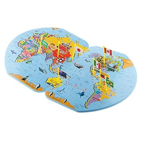 MagiDeal Jouet éducatif Enfants en Bois Carte Du Monde Et 36 Drapeaux Matching Puzzle Géographie Jeux d