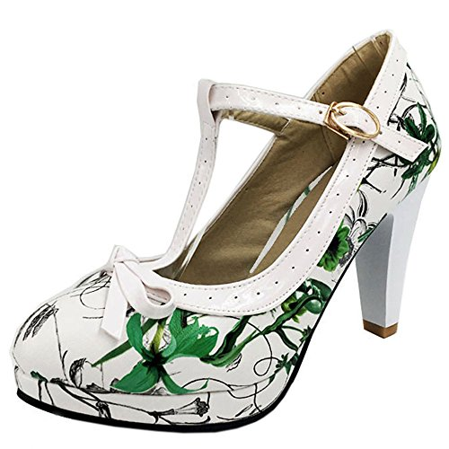 TAOFFEN Damen Elegant Hoch Absatz Party Pumps T-Spange Solid Schuhe Green Flower