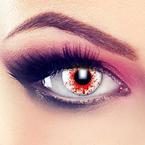 Taffstyle® Farbige Linsen crazy Fun Halloween Karneval Kostüm Kontaktlinsen Motivlinsen 3 Monatslinsen ohne Stärke Rot Blut Schuss - Blood (Halloween Schüsse)