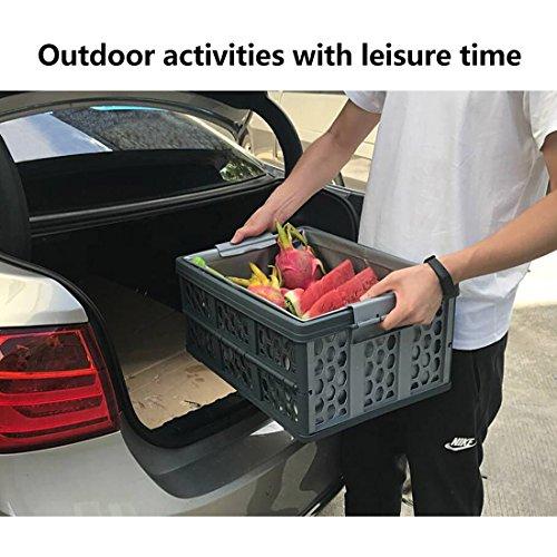 klappboxen faltbar, Trunk Organizer Folding Zusammenklappbarer Kofferraumlager 28 Liter Breathable Utility Crate mit wasserdichtem Beutel (Lagerung Box Trunk)
