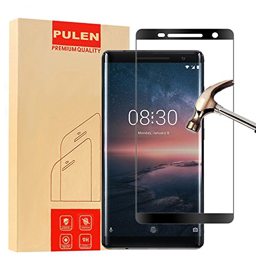 Nokia 8 Sirocco [3D Curved [Argent] Protecteur D'écran, PULEN Film Protection en Verre Trempé écran Protecteur [Extreme Résistant aux rayures] [Anti Rayures] [Anti Bulles] 0,26mm Digitale HD (Noir)