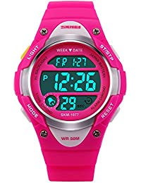 Relojes Deportivo Digital Para Niño Niña y Niños 50m Impermeable Electrónico LED Cronómetro Alarma Militar Multifunción Casual Reloj de Digital Para Chicos con Correa de Silicona (Rosa)