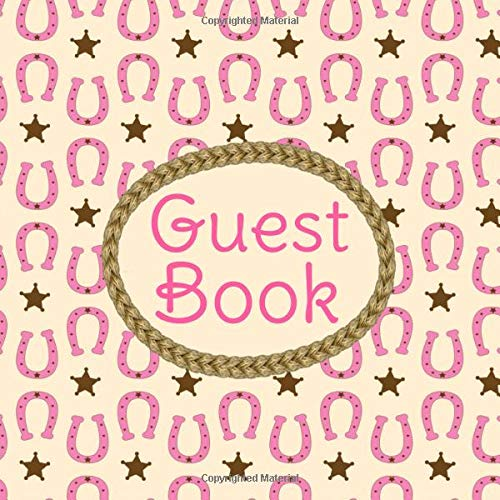 nk Horseshoe Pattern Western Theme Sign in Book w/ Rope Frame Memory Book for Cowgirl, Country Girl, Farm Themed Birthday Party, ... and Lines for Name and Address (8.25 x 8.25) ()