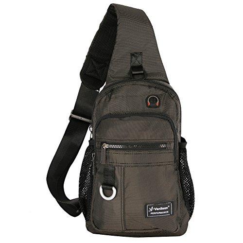 Vanlison Schulterrucksack Sling Rucksack Sling Bag Umhängetasche Daypack Crossbag mit Verstellbarem Schultergurt Mann Frauen Tasche Schwar...