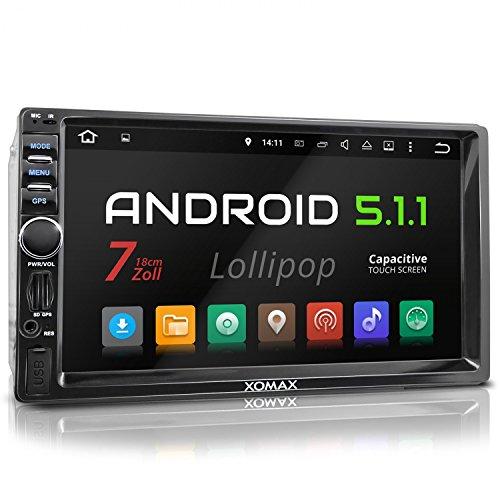 XOMAX XM-2VRSUA744 Android 5.1 Autoradio / Moniceiver Naviceiver mit GPS Navigation + unterstützt WiFi Funktion + Bluetooth Freisprechfunktion & Musikwiedergabe + 7 Zoll / 18 cm Bildschirm ( Touchscreen Display) + Audio und Video über USB Anschluss (bis 128 GB) & Micro SD Kartenslot (bis 128 GB) + Interne Speicherkapazität 16 GB + Anschlüsse für Rückfahrkamera, Lenkradfernbedienung und Subwoofer + Doppel DIN / 2 DIN Standard Einbaugröße inkl. GPS-Antenne
